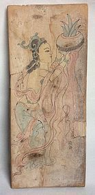 A Chinese Painted Wood Panel - H. 46 cm.