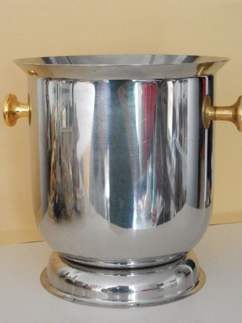 Very nice champagne cooler in chrome metal with handles in gilt brass - 20th century - France