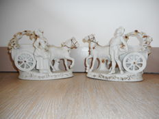 Pair of planter forming couple of gallant characters in biscuit / white ceramic - Germany - circa 1920 - 1930