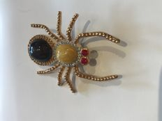 Vintage Crystal set boxed signed Ciro spider brooch