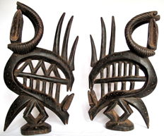 A superb pair of Tyiwara crests, in one piece of wood – Bamana – Mali
