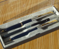 Parker 45 Special DeLuxe GT Blue fountain & ballpoint pen SET - very nice !