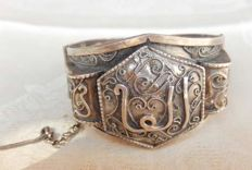 antique opening silver bracelet with oriental inscription