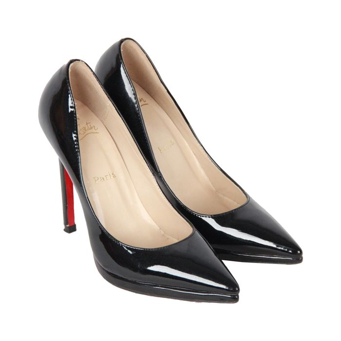 new arrival e45cf 493cb Christian Laboutin - Black Patent Leather Pigalle Plato Heels Shoes -  Catawiki