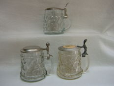3 Beer mugs with tin lids of which two with flowers and one plain, around 1960