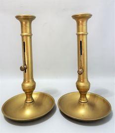 Two large candle holders with sliding mechanism - 1900