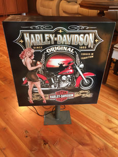 Double sided Large and rare Harley Davidson lightbox - 69 x 50 x 15cm - illuminated advertising sign - xxl dealer sign - 1990s