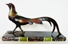 Pheasant - Art Deco patinated bronze sculpture