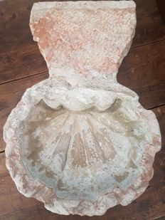 Old Holy Water Font in Pink Stone of Verona - Italy - 17th/18th century