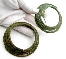 Pair of Bronze Age (Hallstatt culture) Coiled Chest Adornments - 79-90 mm (2)