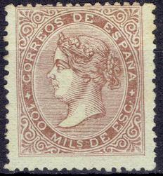 Spain, 1868 – Isabel II period 100 thousandths of escudo – Edifil 99