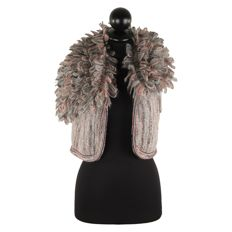 Missoni - Multicolor Wool Blend Knit Cropped Vest / Shrug with Shaggy Collar