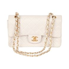 Chanel - Vintage 90s White Quilted Leather Double Flap Bag Small