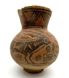Indus Valley Painted Terracotta Jar with Goat Motif - 98x117 mm