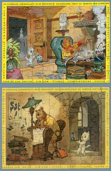 Bumble and Tom Puss - complete set of 2 Tom Puss advertising puzzles - Gimborn - (1955)