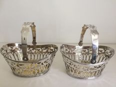 Two sterling ajour silver chocolate baskets, Germany, Hanau, import London, 1898