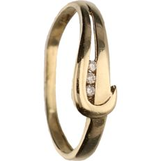 14 kt - Yellow gold ring set with 3 brilliant cut diamonds of approx. 0.015 ct in total - Ring size: 15.75 mm