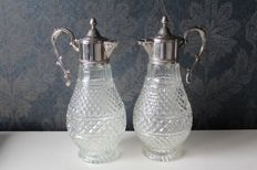 Set of 2 beautiful large decanters with silver-plated frame and handle