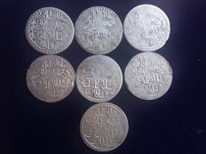Turkey - Yuzluk AH1203 (1789) Years 2, 3, 4, 5, 6 and 7) Selim III + 2 Zalota AH1187 (1774) year 8 Abduk Hamid I (total 7 coins)