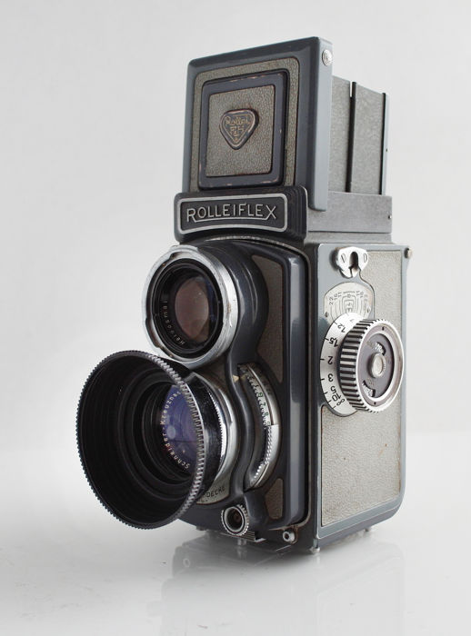 Baby Rolleiflex 4x4, Xenar 1:3.5/60mm, grey version, with accessories, 1957