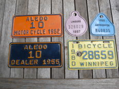 3 engine number plates, 2 tax moped pictures