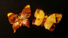Two vintage butterflies brooch made of 100% Natural Baltic Amber