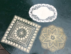 3 old placemats, handmade