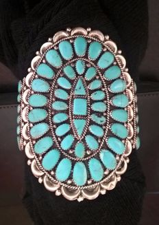 Navajo bracelet in silver and turquoise - Original piece of vintage jewellery by Juliana Williams
