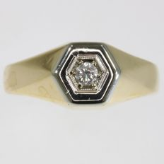 Vintage bicolour gold gentleman's diamond ring from the fifties