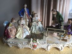 Large Sitzendorf figurine 56cm - Mozart playing for King of Prussia Frederick II and his court