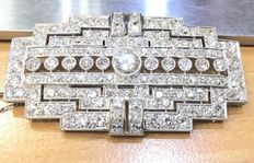Vintage brooch in 18 kt white gold and old cut diamonds