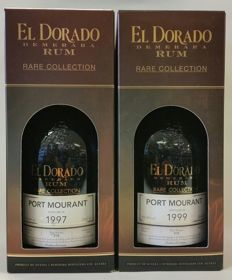 2 bottles of El Dorado Port Mourant Vintage 1997 20 years old & Vintage 1999 15 years old rums -  the limited vintage rum
