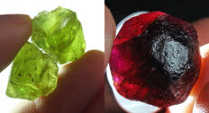 Lot of Natural Peridot and Natural Rhodolite Garnet - 110.40 ct (5)