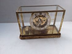 brass bell jar clock with glass case - Germany - 1950