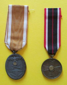 WW2 lot of 2 medals -.German Westwall/Schutzwall & Fur kriegs-verdienst 1939 - Western front and War Merit