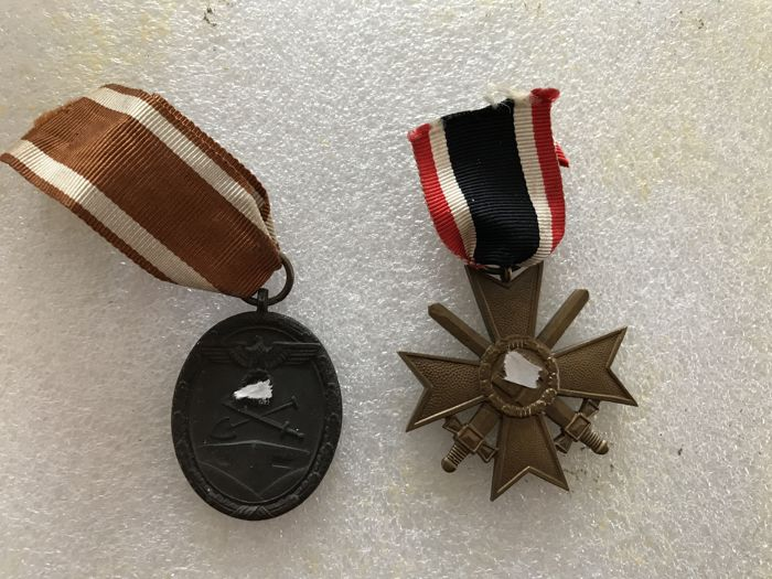 2 medals from WW2 3rd Reich west wall medal and war merit cross with swords