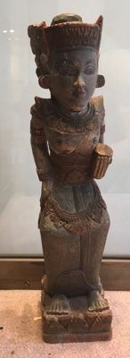 Decorative deity figurine in polychrome wood - Bali - Indonesia