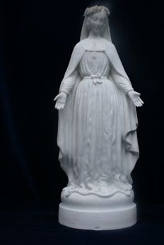 Massive biscuit porcelain  sculpture of holy Mary , very beautiful detailed statue in Empire style , France 1880 - 1900 , This holy niche sculpture comes from a Flemish monastery