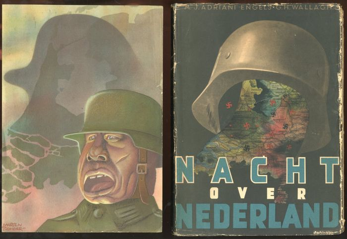 "Toonder, Marten - ""Nacht over Nederland"" Ons vrije Nederland - with dust jacket and loose image - hc (1946)"