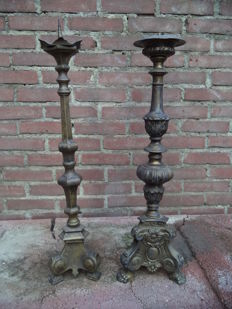 Two large candlesticks - bronze - France - ca 1900