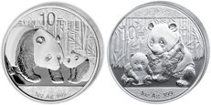 "China – 10 Yuan 2011 and 2012 ""Panda"" (2 pieces) – 2 x 1 oz of silver"