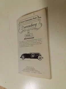 Duesenberg Model J - Owner's instruction book