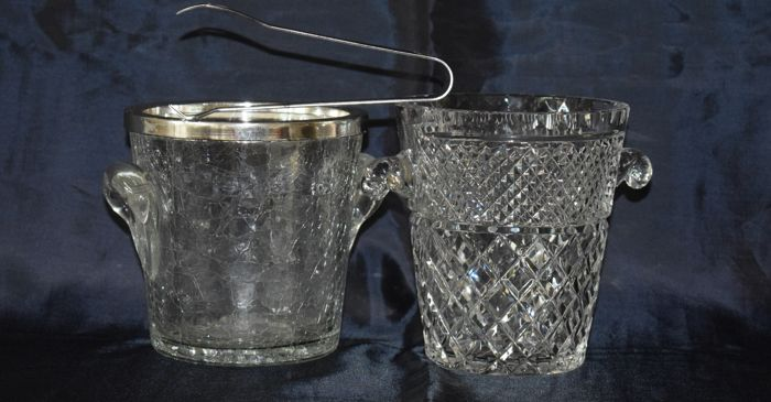 Two cut crystal ice buckets, France, 2nd half of 20th century
