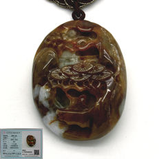 Green/brown two-tone type A jade pendant, engraved with mountain and temple scene, with certificate, 79.37 g