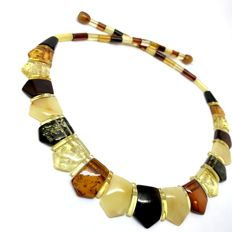 Flat Necklace of natural Baltic Amber (not pressed), multicolour, 46cm - no reserve