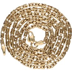 14 kt yellow gold Byzantine link necklace – Length: 55 cm