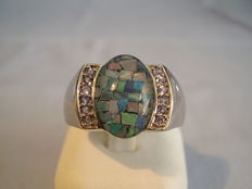 Men's ring with mosaic opal and tanzanites from around 1950