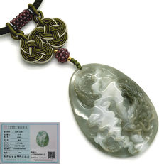 Green Jade bi-colour pendant (A type) - Engraved - Dragon among clouds Includes certificate.