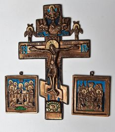 Russian Orthodox travel icons  - The Crucifixion - and two small icons - the Pantocrator and the Trinity -bronze castings -  20 th century