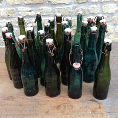 24 old flip-top bottles - beer bottles with porcelain cap from various Belgian breweries - 1920